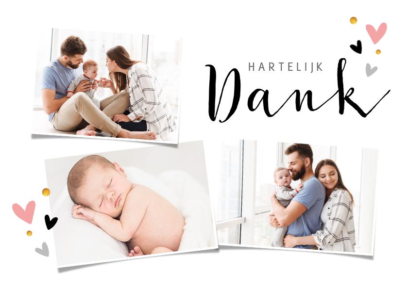 Doopkaarten - Bedankkaart voor doop fotocollage met hartjes