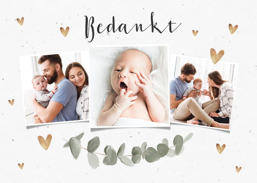 Doopkaarten - Bedankkaart voor doopviering met eucalyptus en foto's