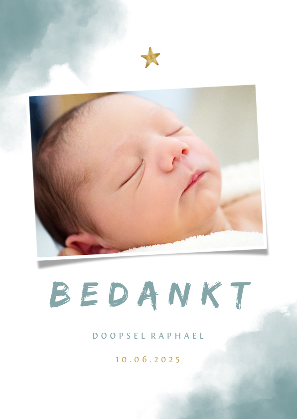 Doopkaarten - Bedankkaartje doop blauwe waterverf, ster en foto