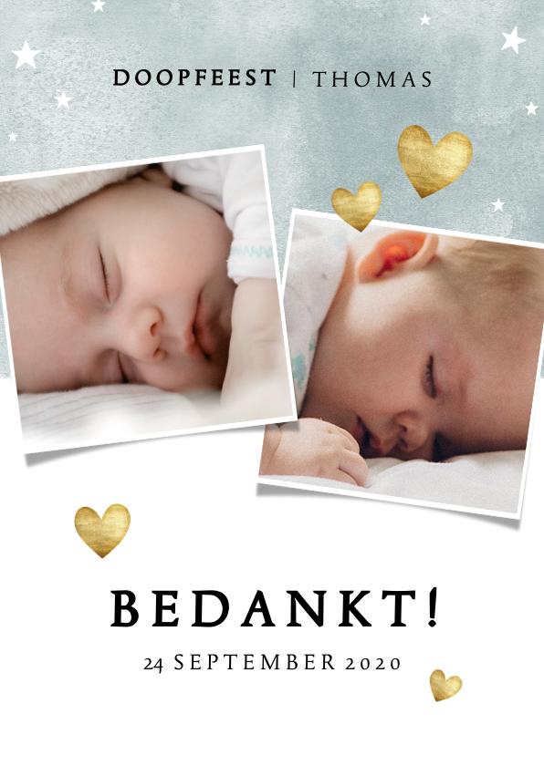Doopkaarten - Bedankkaartje doopfeest jongen waterverf en sterretjes