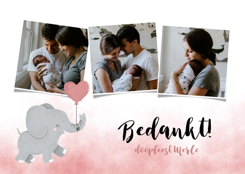 Doopkaarten - Bedankkaartje doopfeest meisje olifantje met ballon