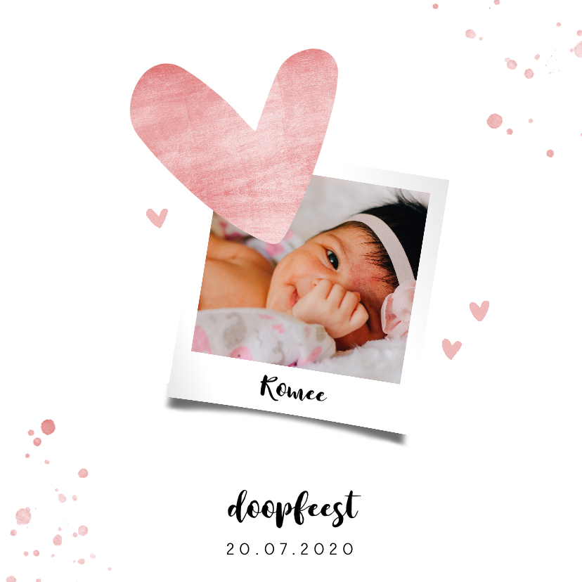 Doopkaarten - Doopkaartje met roze spetters en hartjes
