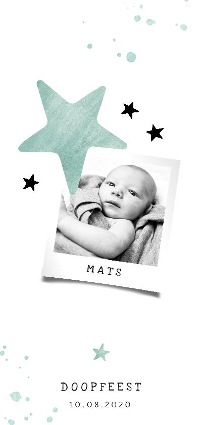 Doopkaarten -  Doopkaartje sterren en mint spetters langwerpig