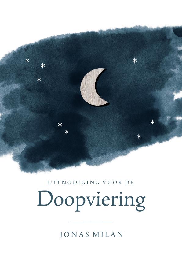 Doopkaarten - Doopuitnodiging sterrenhemel & maan met foto binnenin