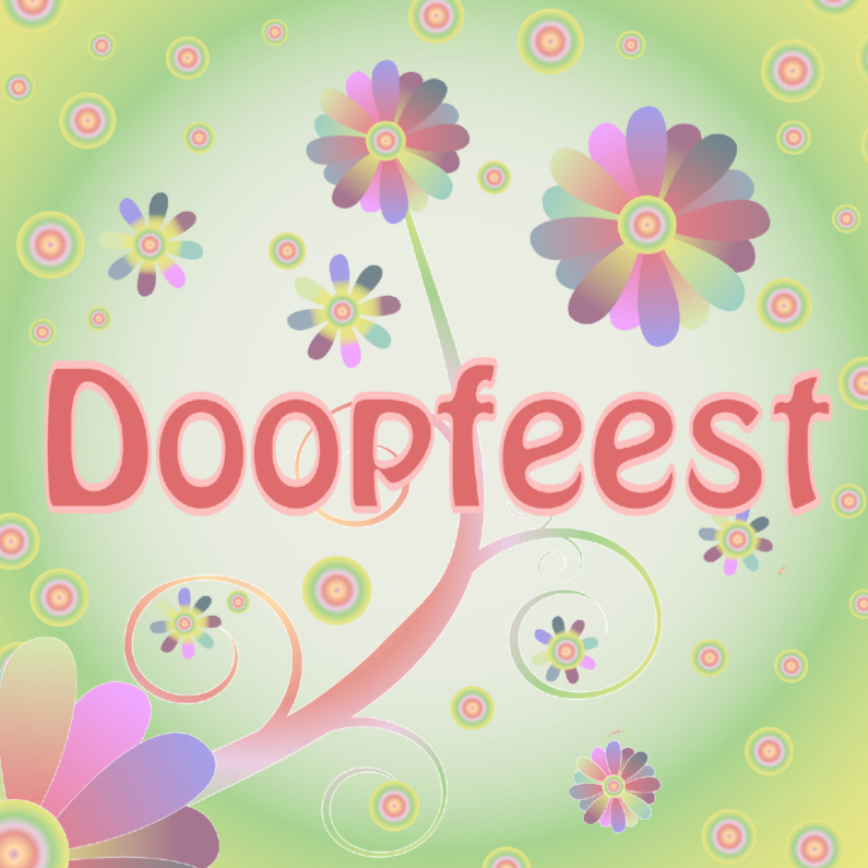 Doopkaarten - flowerpower-doopfeest