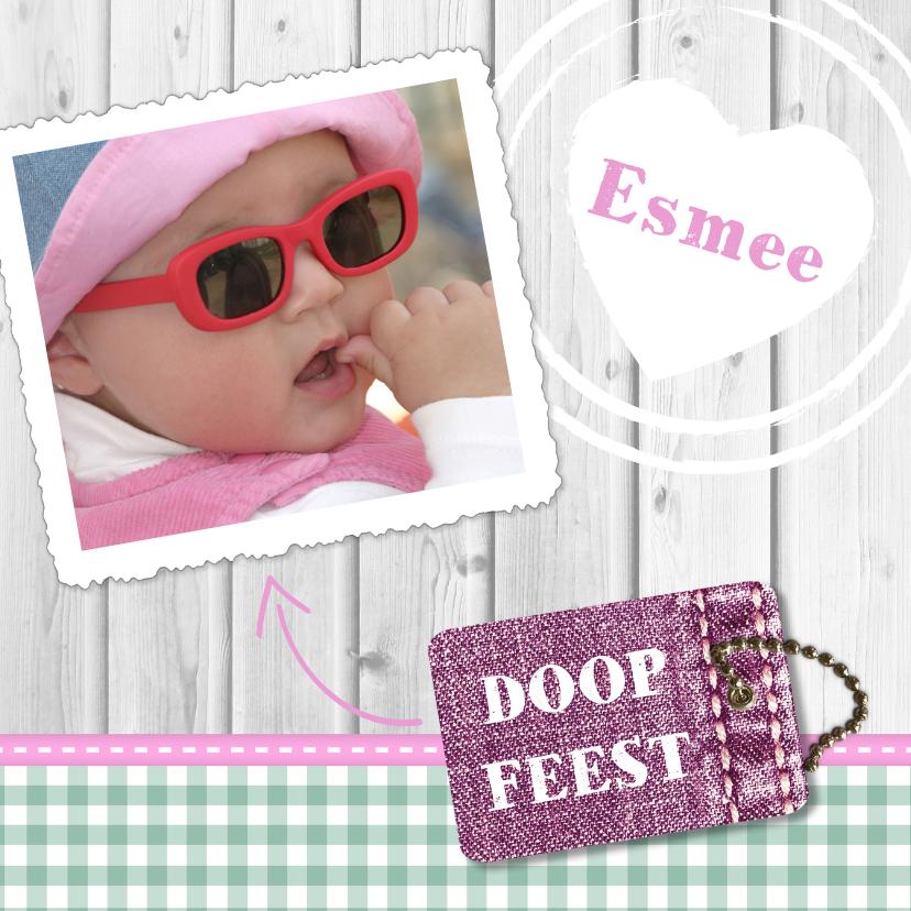 Doopkaarten - Hout met Label doop roze - BK