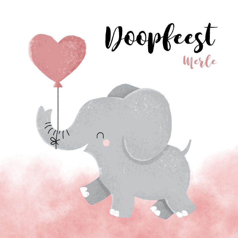 Doopkaarten - Lieve doopkaart meisje olifantje met ballon en waterverf