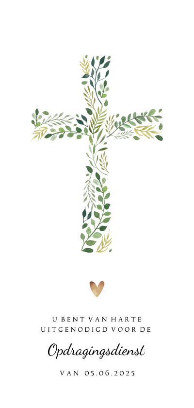 Doopkaarten - Uitnodiging doopdienst met kruis van botanische bladeren