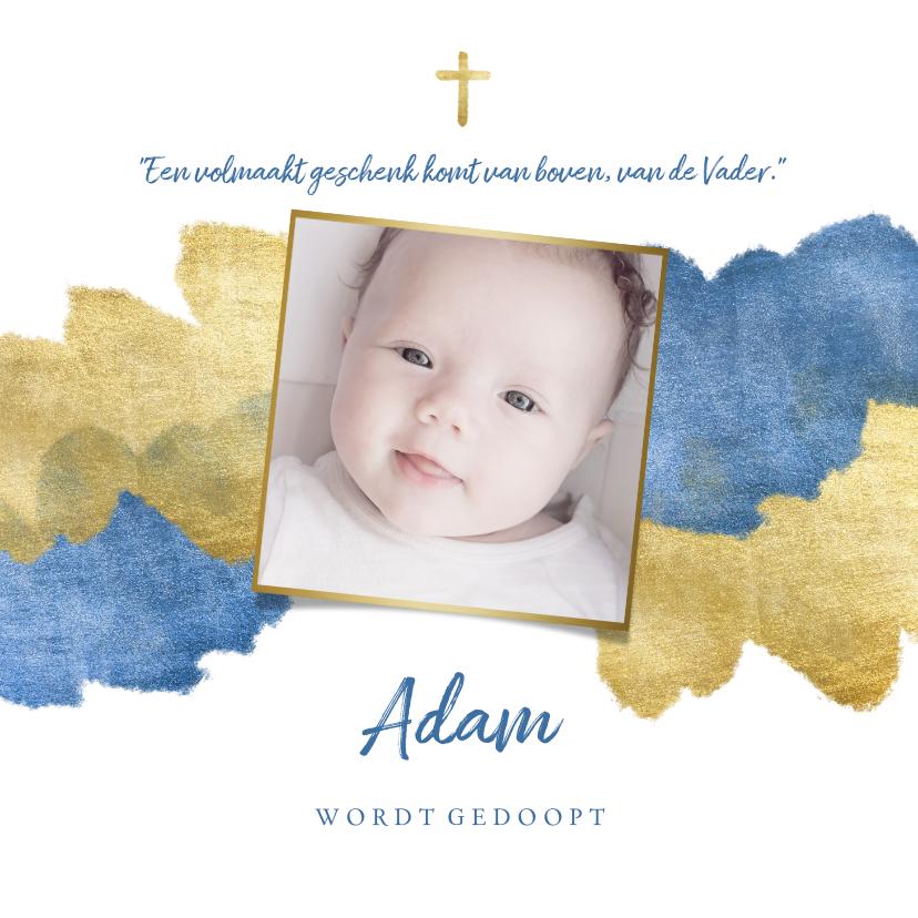 Doopkaarten - Uitnodiging doopfeest foto metallic blauw