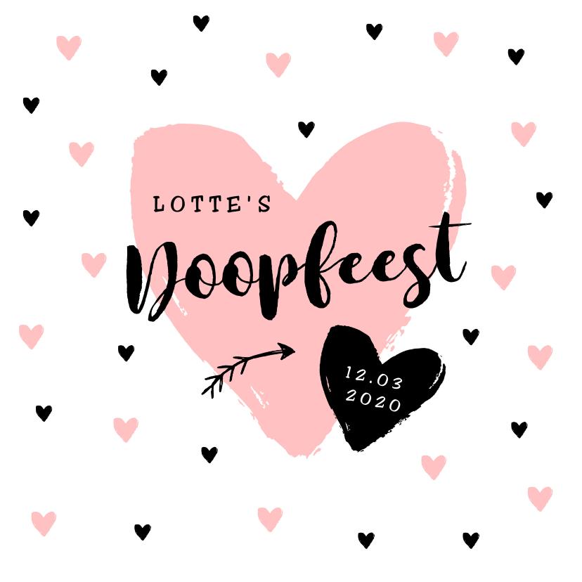 Doopkaarten - Uitnodiging doopfeest meisje met hippe hartjes en foto