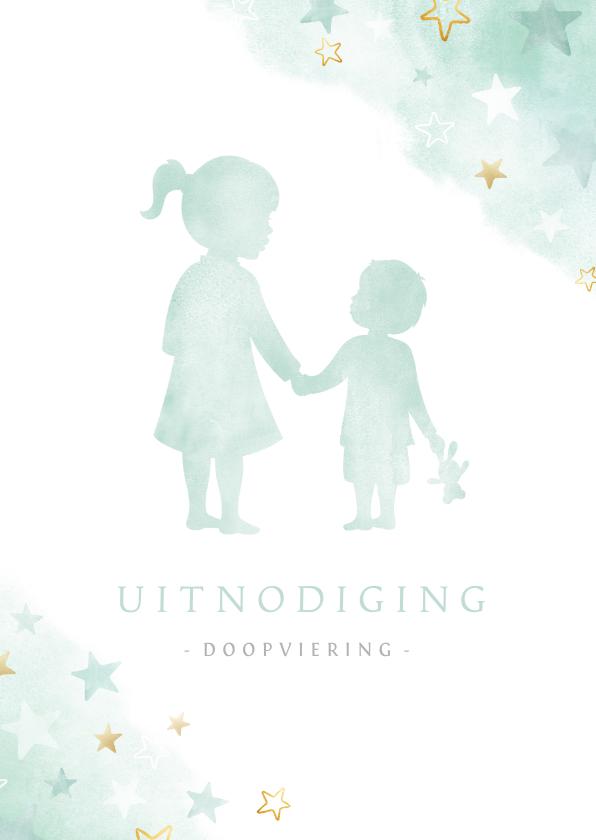 Doopkaarten - Uitnodiging doopviering broertje met zus