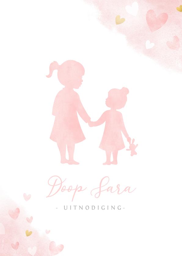 Doopkaarten - Uitnodiging doopviering met grote zus en klein zusje