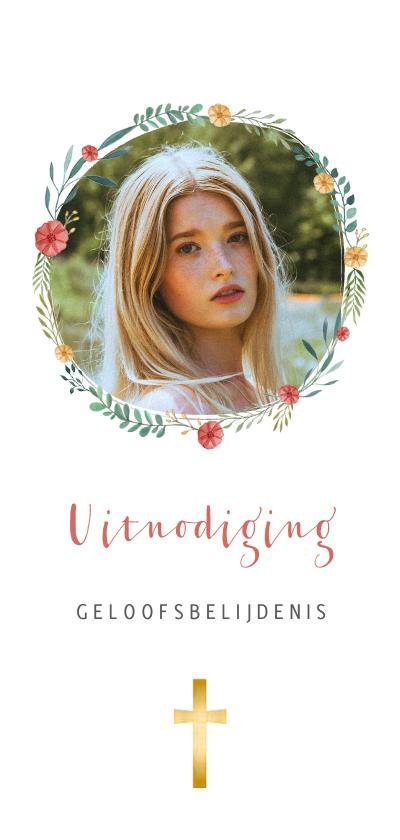Doopkaarten - Uitnodiging voor belijdenis met bloemenkrans