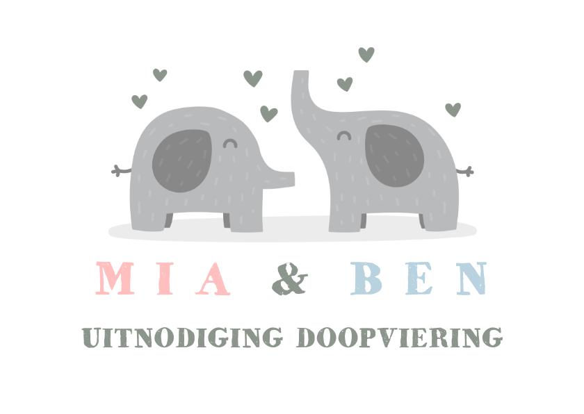 Doopkaarten - Uitnodigingskaart doop olifant tweeling foto's binnen