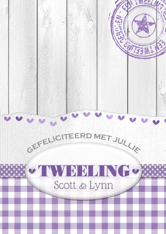 Felicitatiekaarten - 14239 Tweeling hartjes wit hout