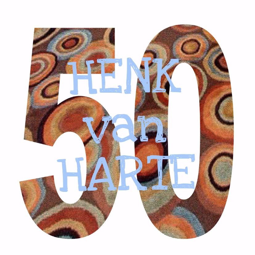 Felicitatiekaarten - 50 Cijfer mozaïekringen  - AW