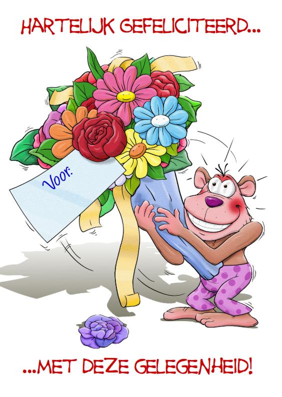 Felicitatiekaarten - Aapje en grote bos bloemen