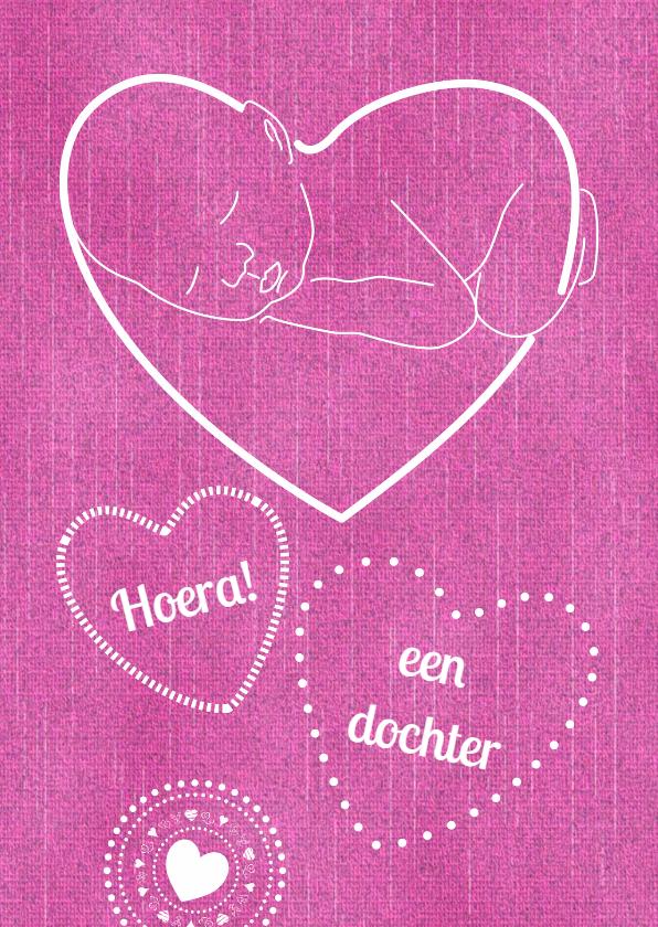Felicitatiekaarten - Baby jeans-look roze eigen txt