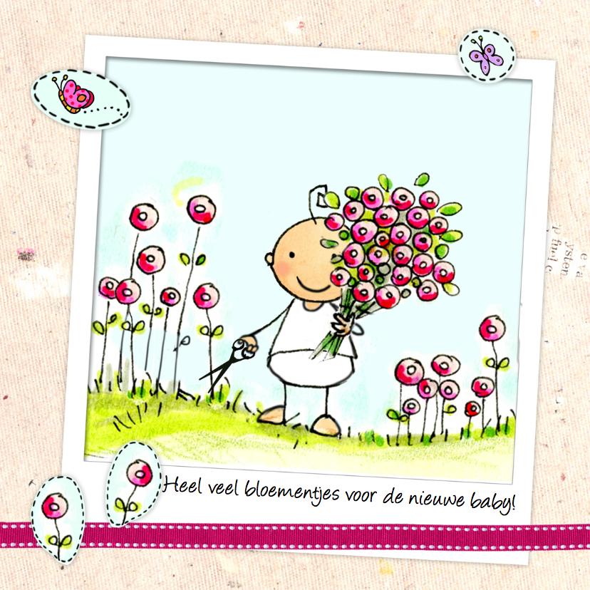 Felicitatiekaarten - Baby met bloemen