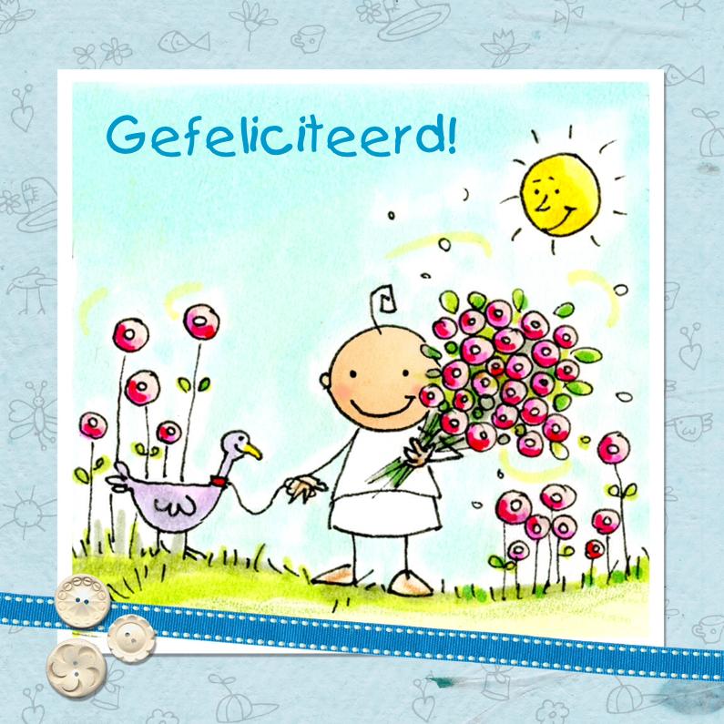 Felicitatiekaarten - Baby met bos bloemen en eend