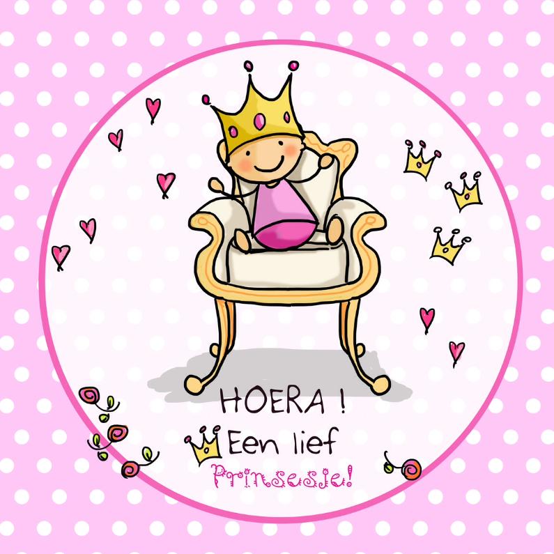 Felicitatiekaarten - Baby op troon meisje