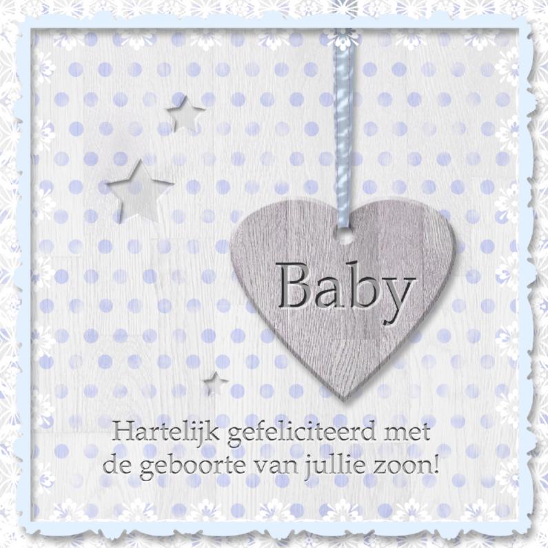 Felicitatiekaarten - Babyhart blauw met sterren