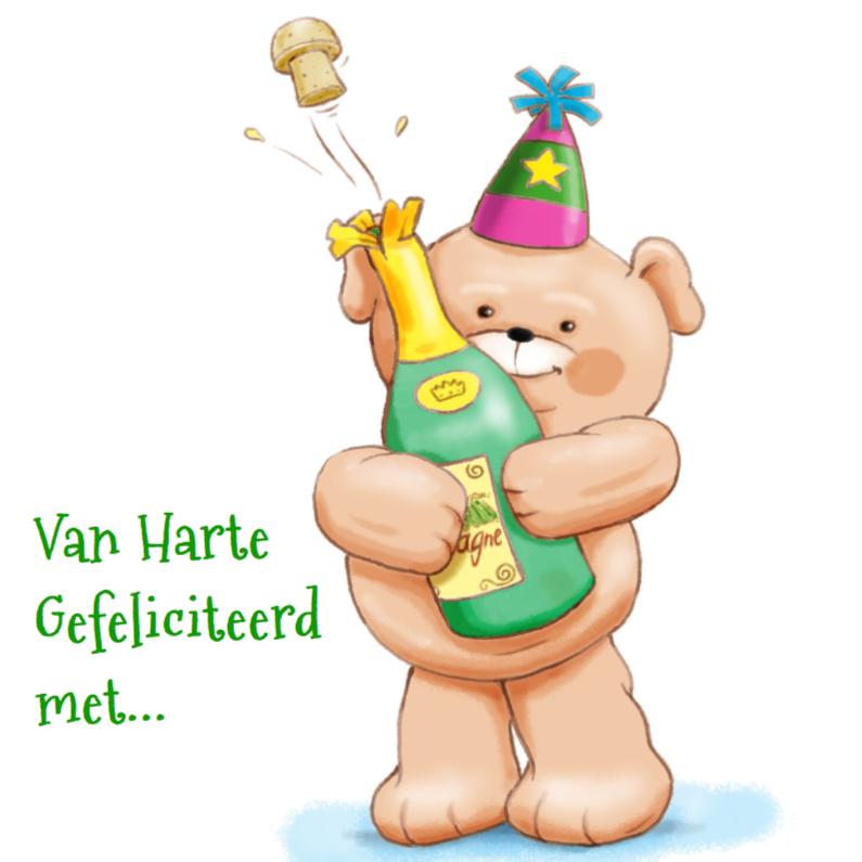 Felicitatiekaarten - Beertje champagne felicitatie