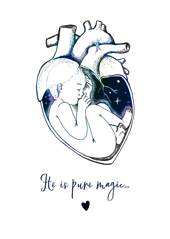 Felicitatiekaarten - Bijzonder geboorte kaartje met illustratie voor een jongen