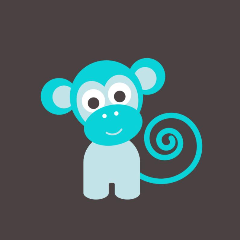 Felicitatiekaarten - Blauw aapje