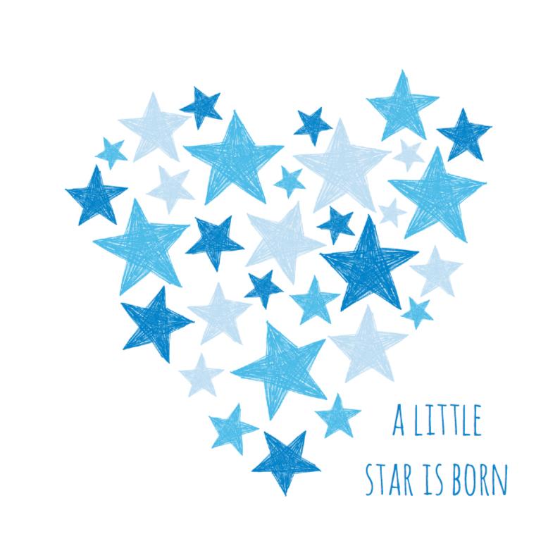 Felicitatiekaarten - Blauw hart met sterren