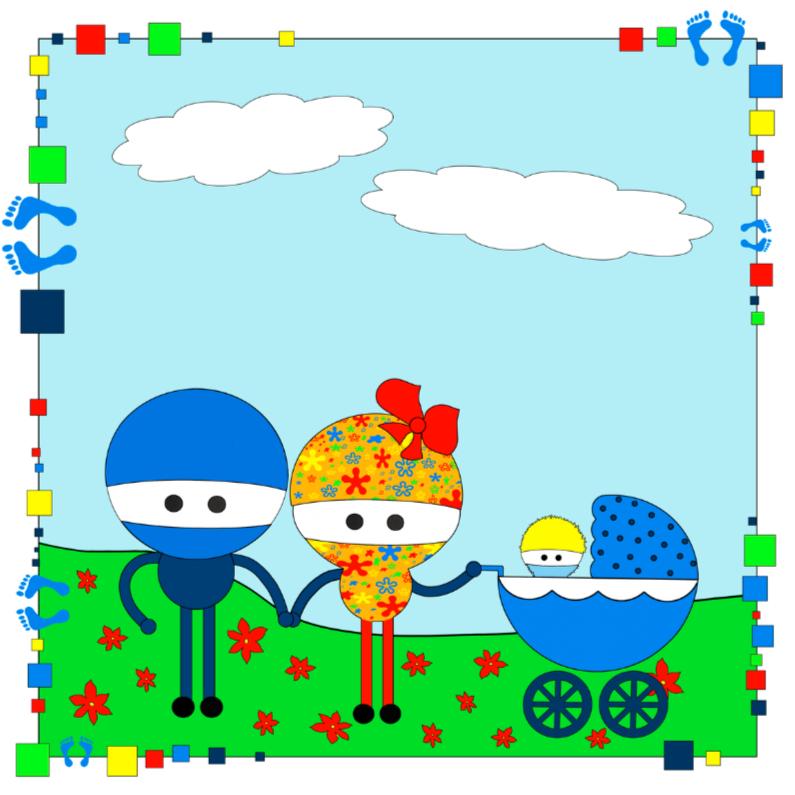 Felicitatiekaarten - blauwe kinderwagen