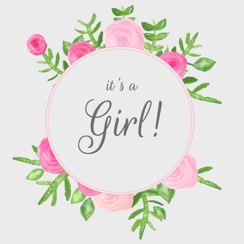 Felicitatiekaarten - Bloemen cirkel meisje - SU