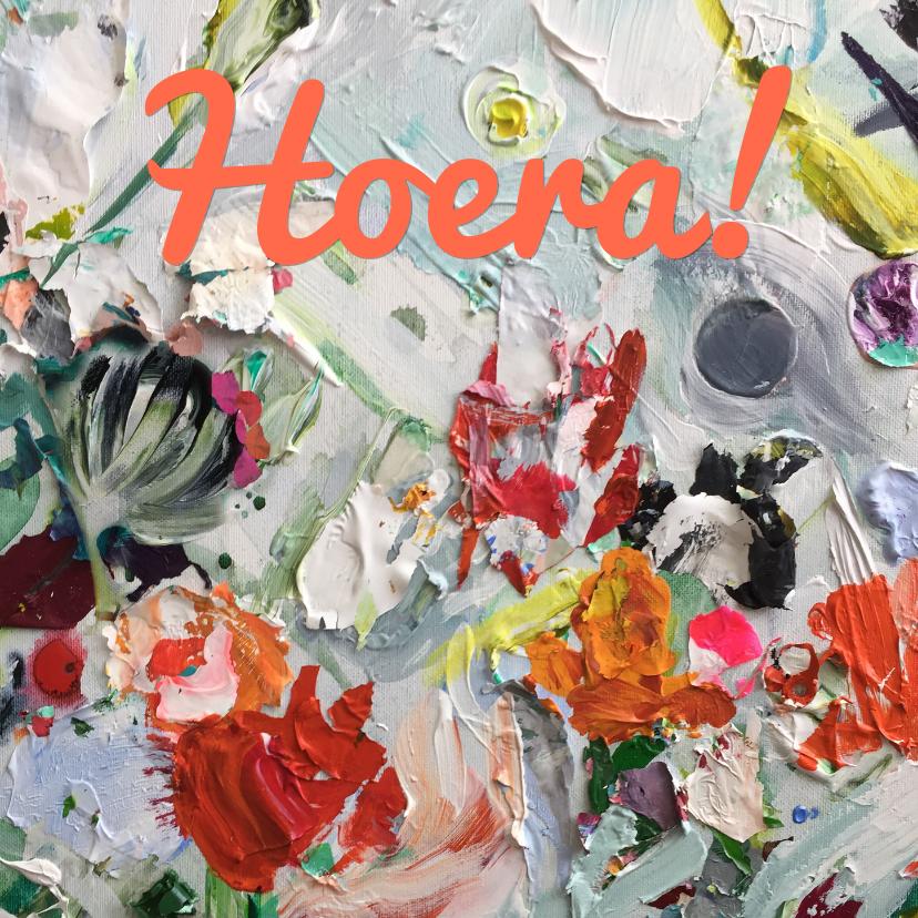 Felicitatiekaarten - Bloemen kunst eigen txt en achtergrondkleur