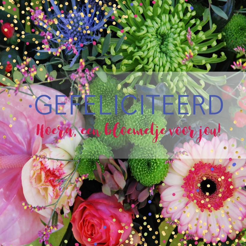 Felicitatiekaarten - Bloemenkaart roze paars