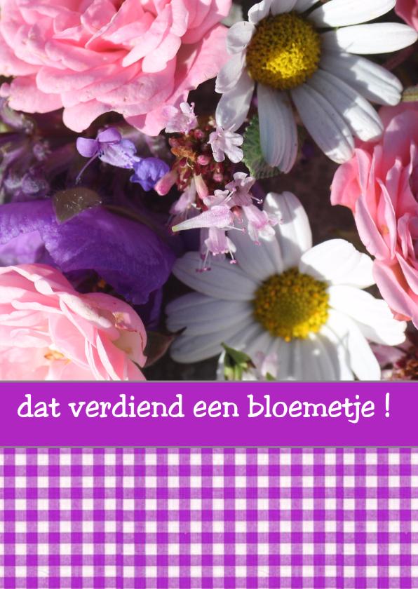 Felicitatiekaarten - bloemetje ruit