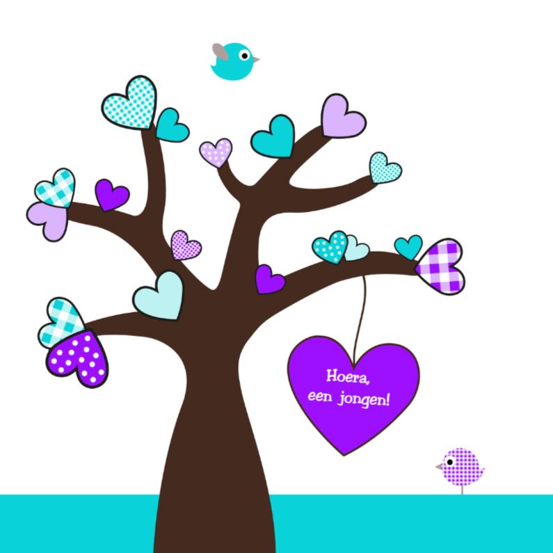 Felicitatiekaarten - Boom met hartjes blauw