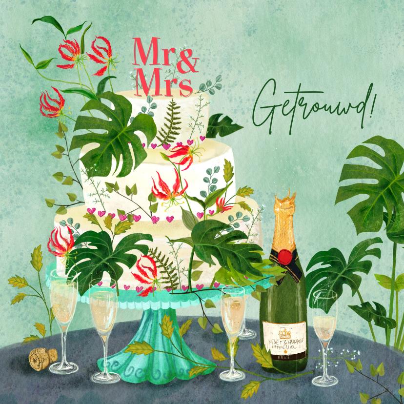 Felicitatiekaarten - Botanisch versierde bruidstaart met champagne