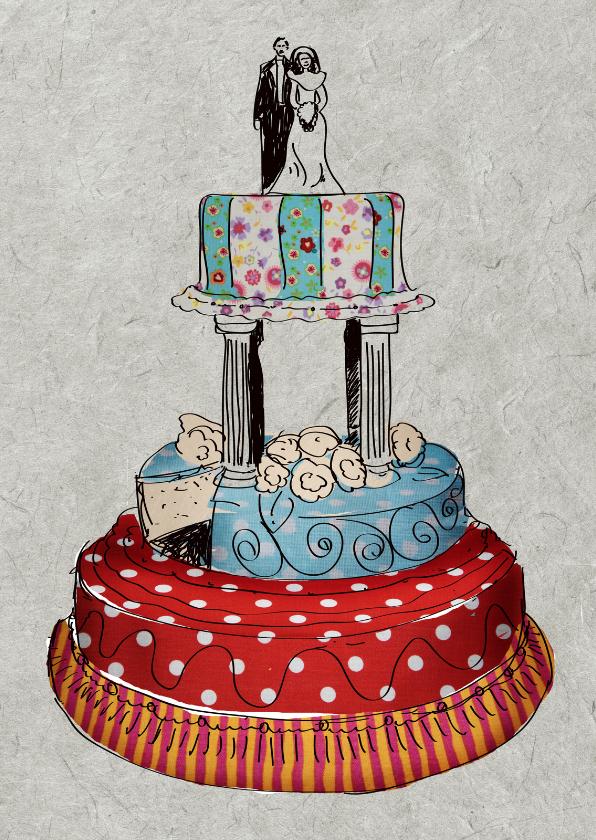 Felicitatiekaarten - Bruidstaart kleur