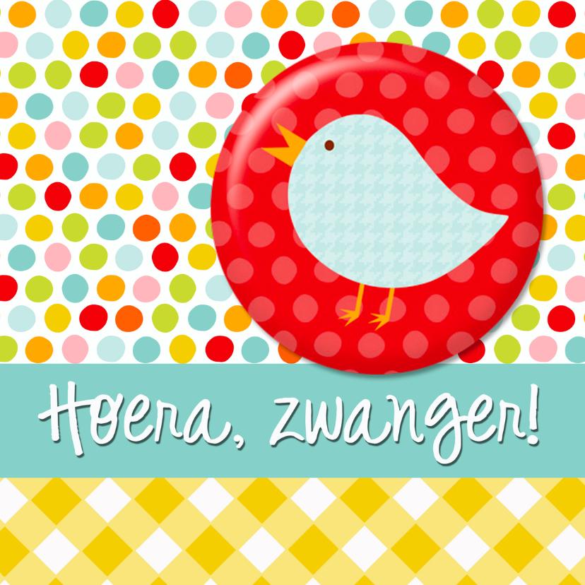 Felicitatiekaarten - Button kaart zwanger