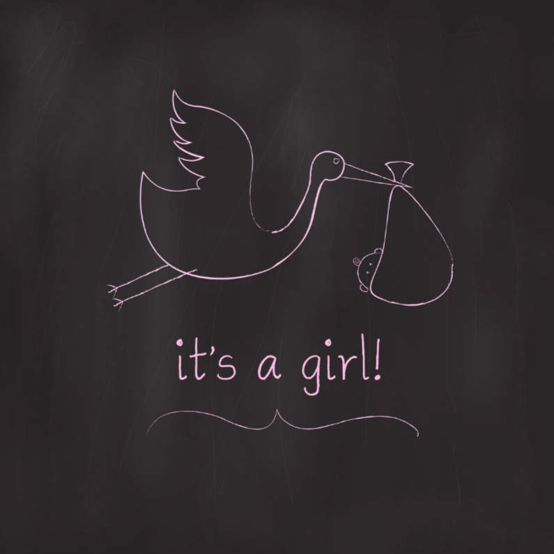 Felicitatiekaarten - Chalkboard Ooievaar Meisje