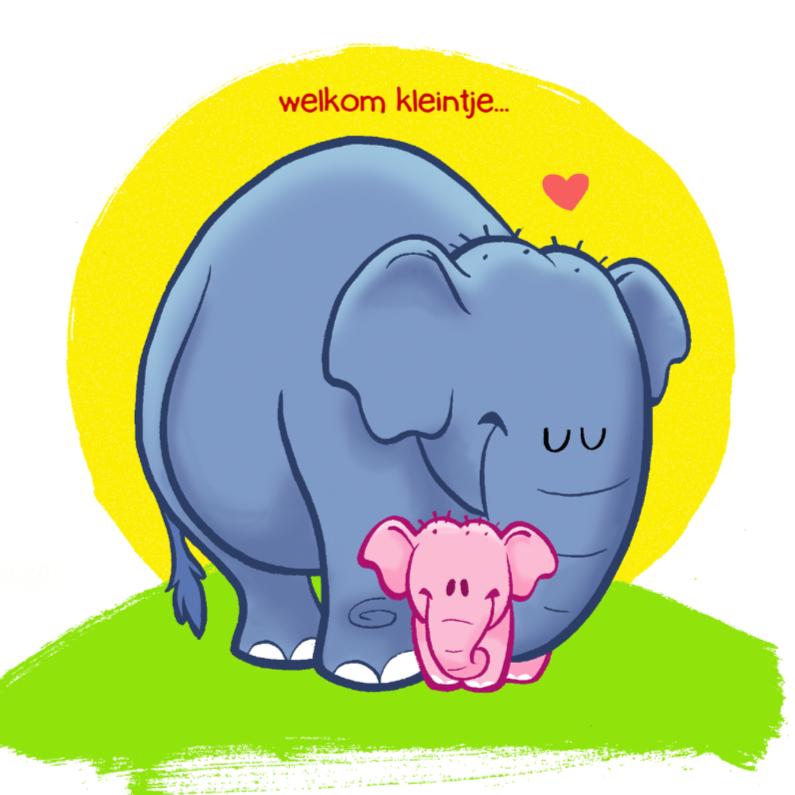 Felicitatiekaarten - Dieren - meisje olifant