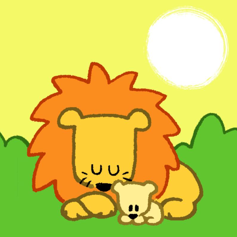 Felicitatiekaarten - Diertjes - leeuw mama en kind
