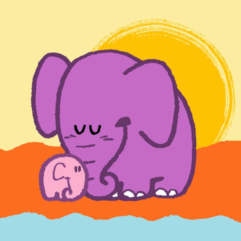 Felicitatiekaarten - Diertjes - mama olifant en kind