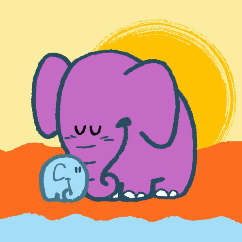 Felicitatiekaarten - Diertjes - olifant mama en kind