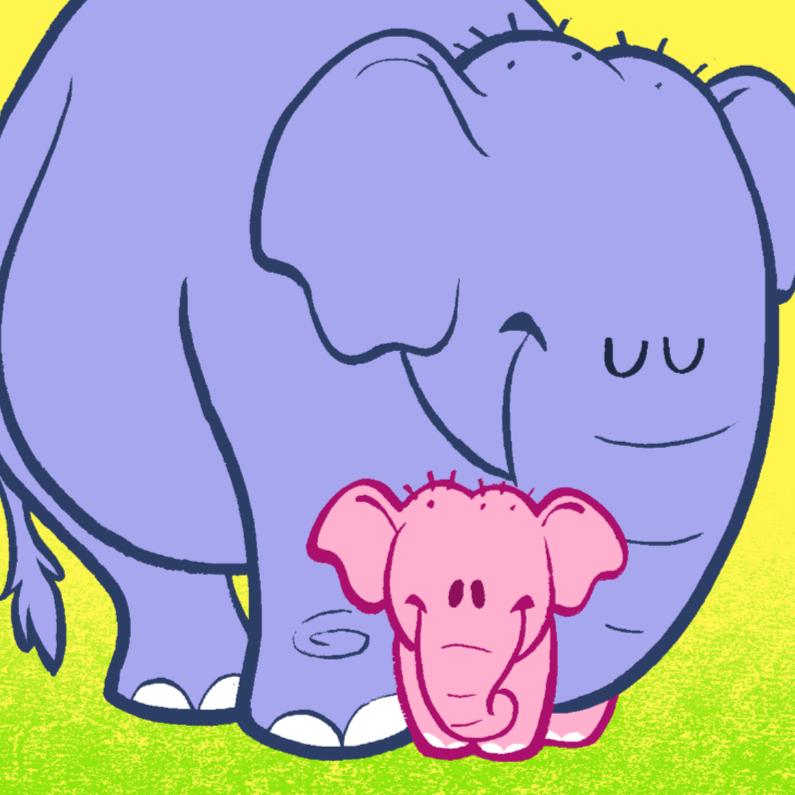 Felicitatiekaarten - Diertjes - olifant meisje