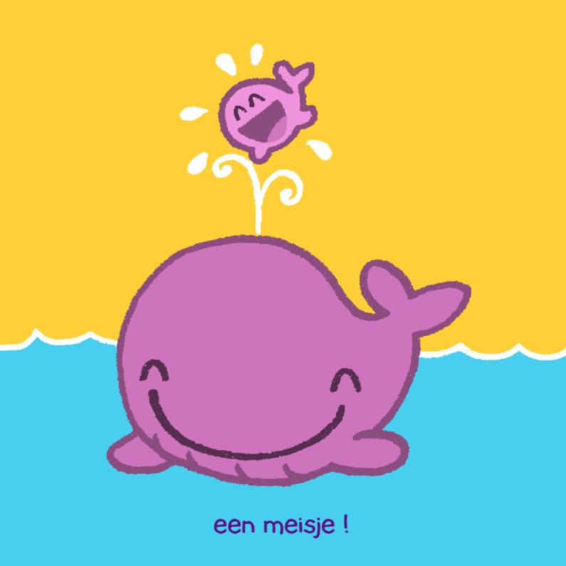 Felicitatiekaarten - Diertjes - walvis meisje