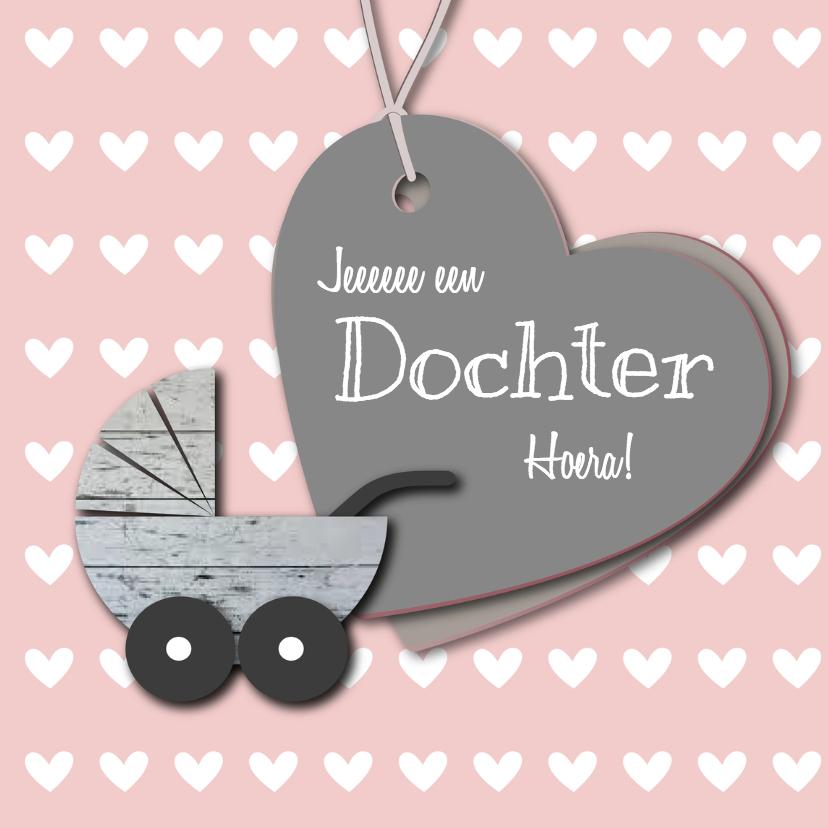 Felicitatiekaarten - Dochter hout kinderwagentje