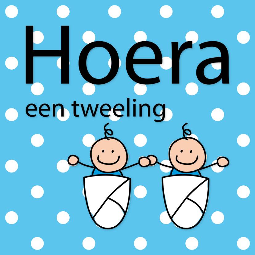 Felicitatiekaarten - Dotjes - tweeling jongens