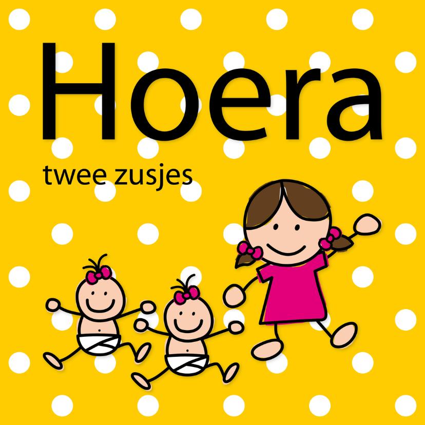 Felicitatiekaarten - Dotjes - twee zusjes - grote zus