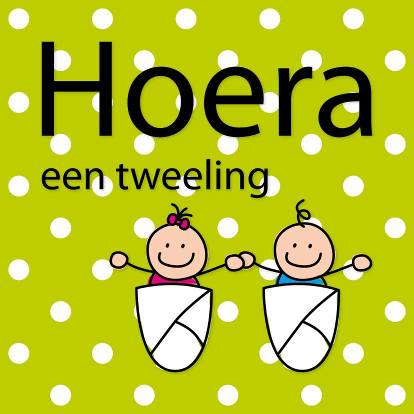 Felicitatiekaarten - Dotjes - tweeling jongen en meisje